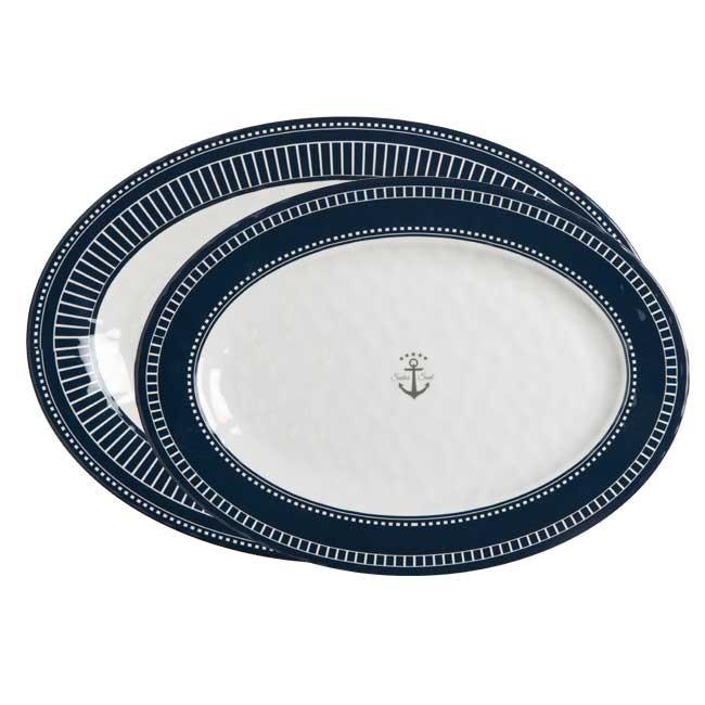 """Marine Business 2 Serviertplatten oval """"Sailor Soul"""" Melamin 41 x 29 cm und 35 x 26 cm"""