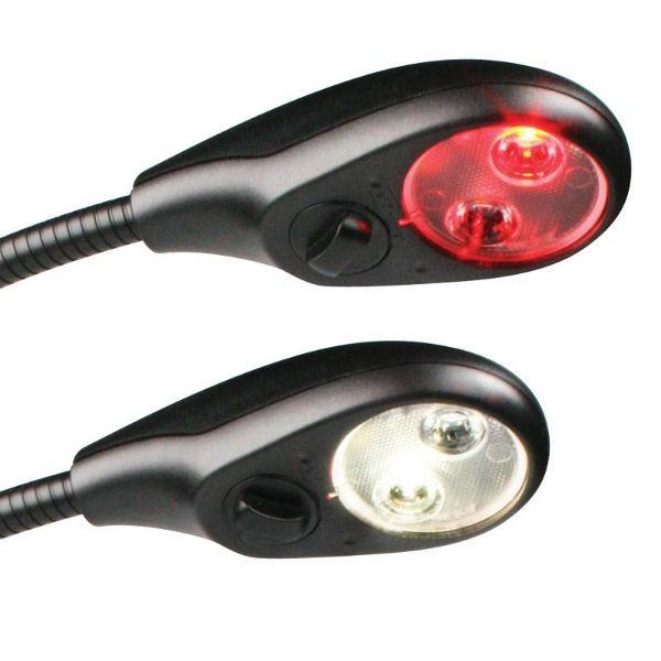 Hella Kartentischleuchte mit flexiblem Arm weiß/rot dimmbar