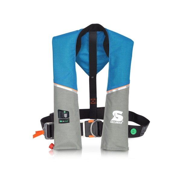 "SECUMAR Automatikrettungsweste Ultra 170 ""Harness"" haiwaiian ocean/hellgrau/orange"