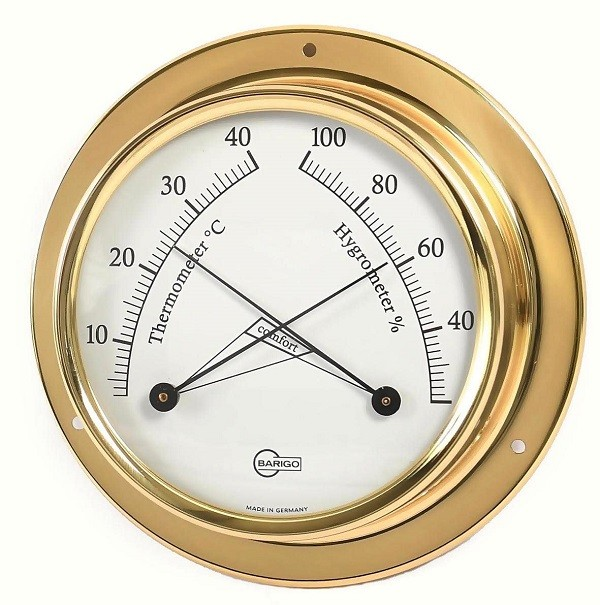 Barigo Mini Thermo- / Hygrometer  Ø 70 mm Messing