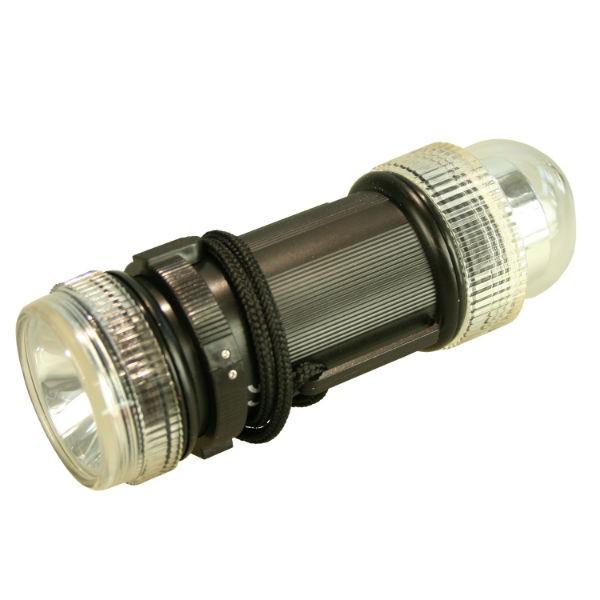 Notblitz mit LED-Taschenlampe schwarz