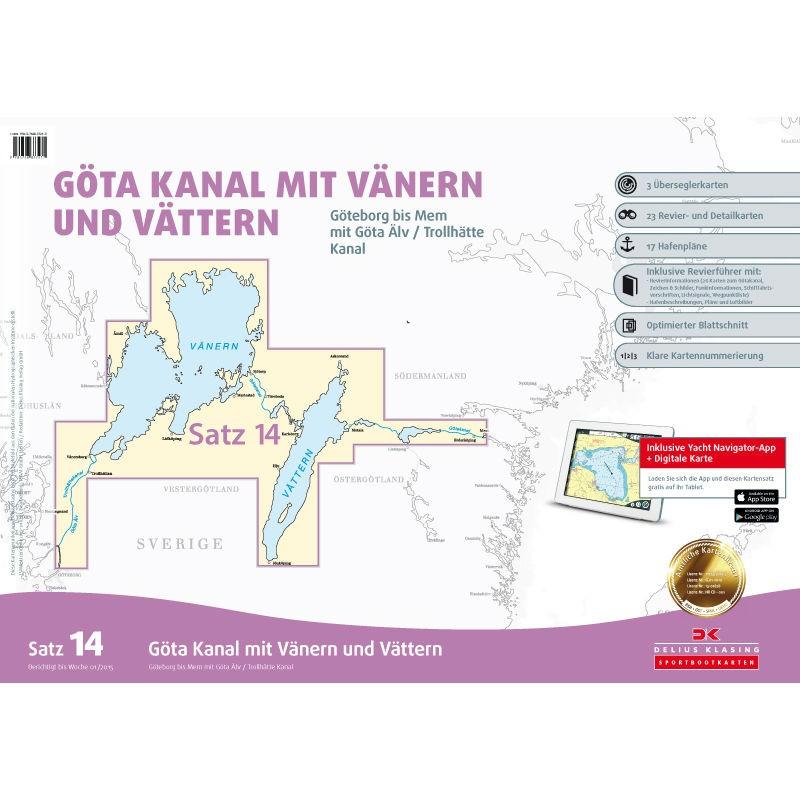 Sportbootkarten Satz 14: Götakanal mit Vänern und Vättern (Ausgabe 2020/2021)
