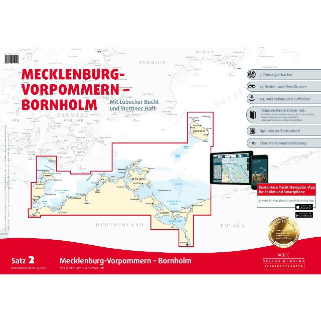DK Sportbootkarten Satz 2: Mecklenburg-Vorpommern - Bornholm