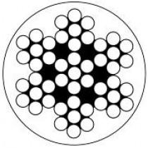 Niro-Relingsdrahtseile, Konstruktion 7x7, transp. kunststoffummantelt