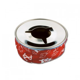 Aschenbecher aus Nirostahl Farbe rot